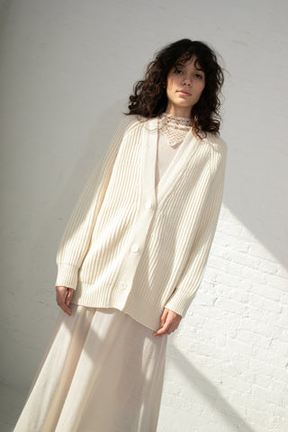 Ryan Roche Oversized Ribbed Cardigan in Ivory | Oroboro Store | New York, NY
