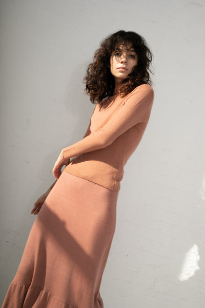 Ryan Roche Rib T Neck Sweater in Rose Wood | Oroboro Store | New York, NY