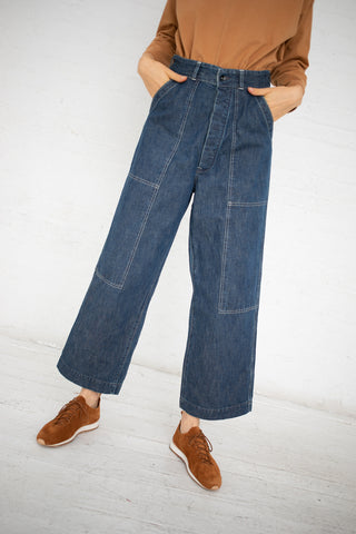 Chimala Double Knee Work Trousers in Used Rinse | Oroboro Store | New York, NY