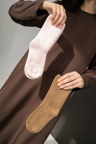Baserange Buckle Overankle Socks in Bath Brown | Oroboro Store | New York, NY