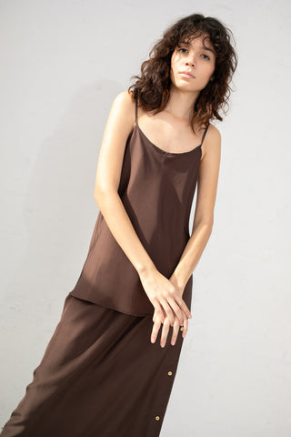 Baserange Dydine Strap Top in Carpet Brown | Oroboro Store | New York, NY