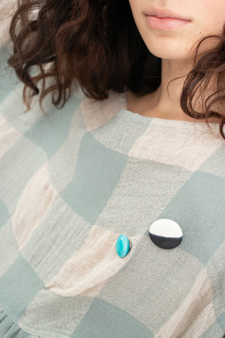 Monty J Ceramic Button Brooch in Blue | Oroboro Store | New York, NY
