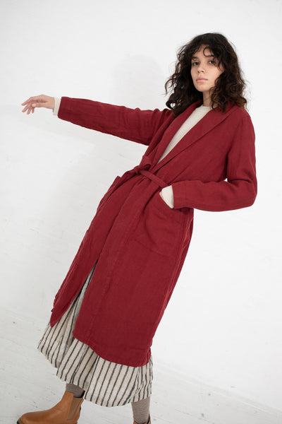 Ichi Antiquites Coat Linen Sulfide in Red | Oroboro Store | New York, NY