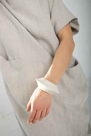 Lauren Manoogian Stitch Saucer Bangle in White | Oroboro Store | New York, NY