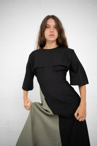 Yulia Kondranina Asymmetric Dress in Black/Olive | Oroboro Store | New York, NY
