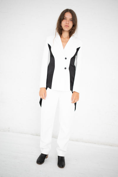 Yulia Kondranina Contrast Side Panel Blouse in Off White/Black | Oroboro Store | New York, NY