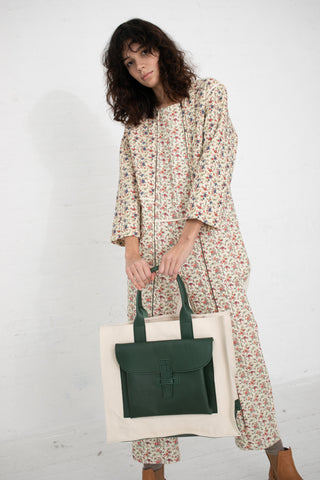 Agnes Baddoo Tote in Canvas and Green Leather | Oroboro Store | New York, NY