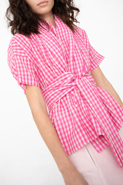Caron Callahan Julien Top in Pink Gingham | Oroboro Store | New York, NY
