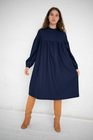 AVN Wool Empire Waist Dress in Navy Blue | Oroboro Store | New York, NY