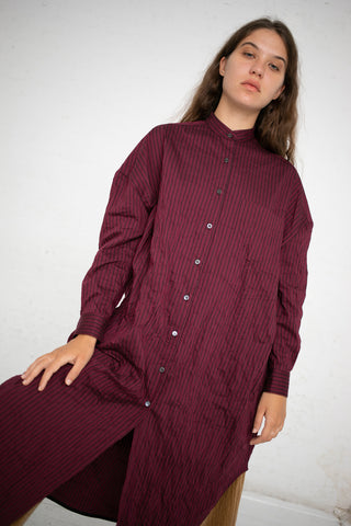 Hache Shirt Dress in Maroon | Oroboro Store | New York, NY
