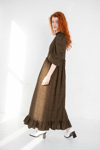 Batsheva Kate Dress in Brown Floral | Oroboro Store | New York, NY