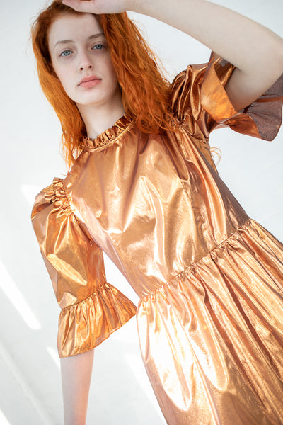 Batsheva Spring Prairie Dress in Rose Gold Metallic | Oroboro Store | New York, NY