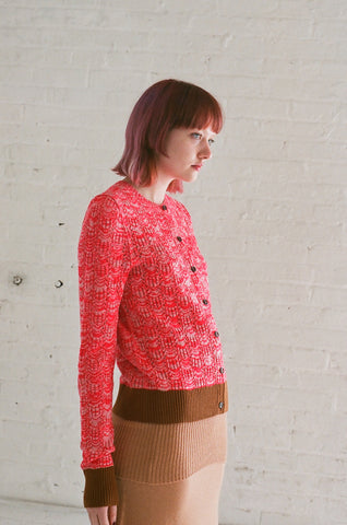 A Detacher Azelia Cardigan in Almond/Red Fluo | Oroboro Store | Brooklyn, New York