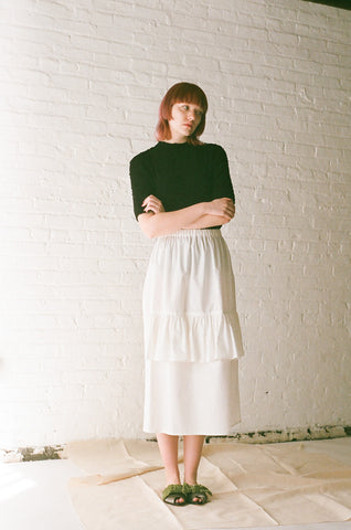 Rowena Sartin Single Double Skirt in White | Oroboro Store | Brooklyn, New York