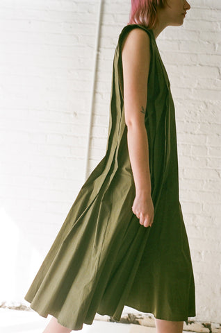 Hache Pleated Dress in Green | Oroboro Store | Brooklyn, New York