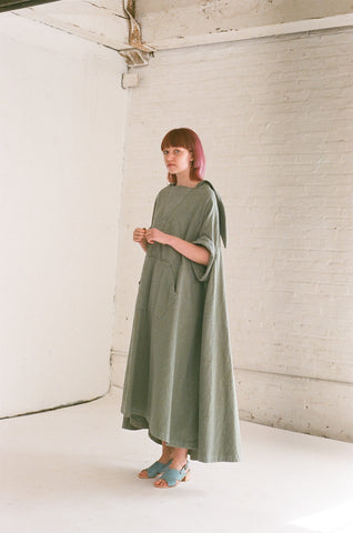 Bernhard Willhelm Wide Cotton Dress in Garden Green | Oroboro Store | Brooklyn, New York