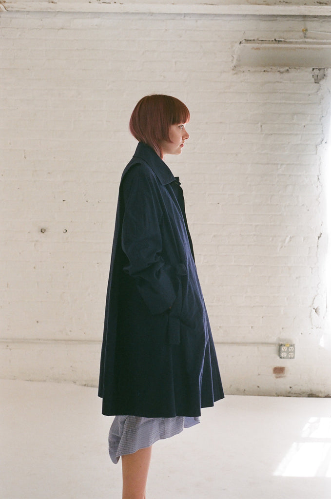 Bernhad Willhelm Coat in Blue | Oroboro Store | Brooklyn, New York