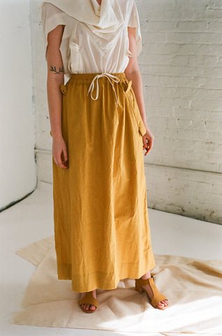 Bernhard Willhelm Long Cotton Skirt in Yellow | Oroboro Store | Brooklyn, New York