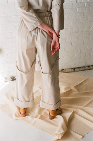 Rowena Sartin Back Loop Cuff Pant with Side Pockets in Putty | Oroboro Store | Brooklyn, New York