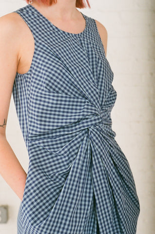 Caron Callahan Goldie Dress in Blue Gingham | Oroboro Store | Brooklyn, New York