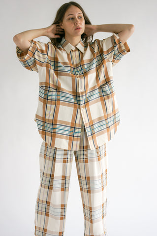 Studio Nicholson Tabasco Shirt in Check Multi Tan on model view front