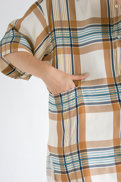 Studio Nicholson Tabasco Shirt in Check Multi Tan pocket detail view