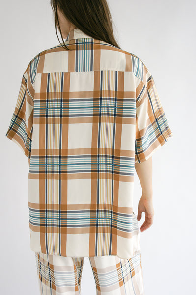 Studio Nicholson Tabasco Shirt in Check Multi Tan on model view back