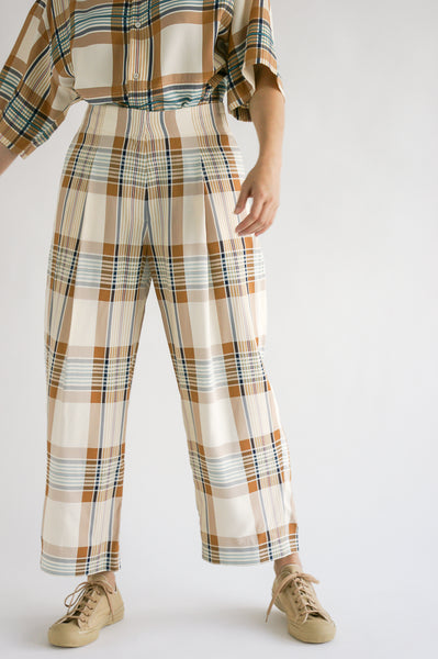 Studio Nicholson Dordoni Volume Pant in Check Multi Tan on model view front