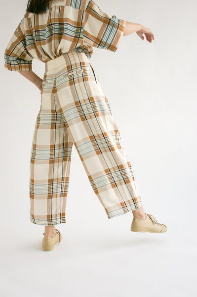 Studio Nicholson Dordoni Volume Pant in Check Multi Tan on model view back