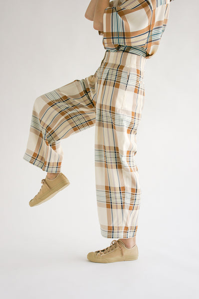 Studio Nicholson Dordoni Volume Pant in Check Multi Tan on model view side