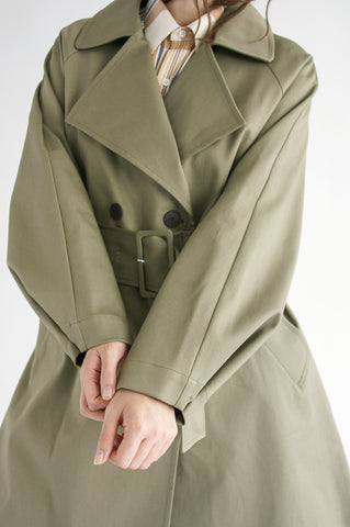 Studio Nicholson Ortiga Coat in Ash Green cuff detail view