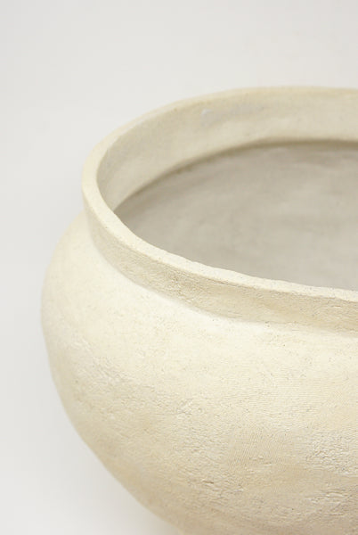 Lost Quarry Hand Built Vessel No. 000112 - XL Planter in Limestone detail view