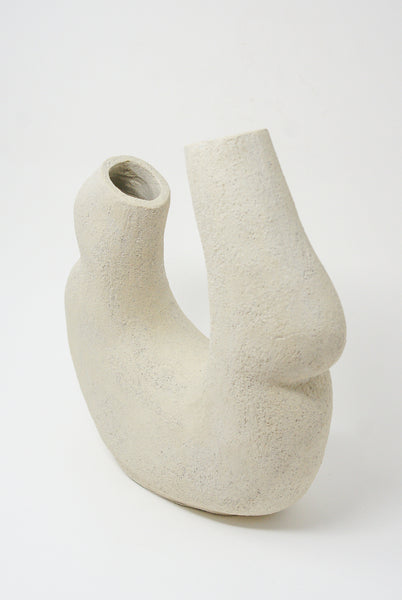 Lost Quarry Hand Built Vessel No. 00100 - Double Opening Vessel in Limestone 3/4 view