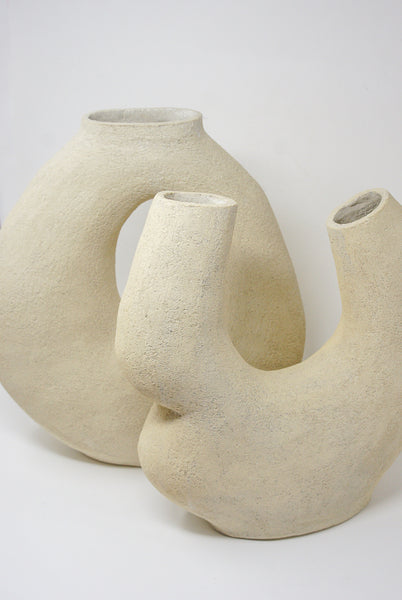 Lost Quarry Hand Built Vessel No. 00100 - Double Opening Vessel in Limestone group view