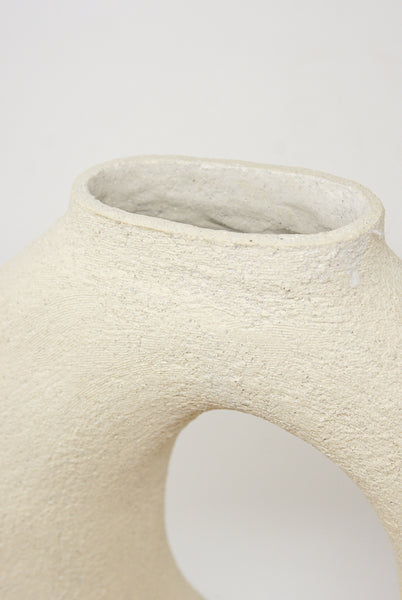 Lost Quarry Hand Built Vessel No. 000115 - Oval Vessel with Single Opening in Limestone opening detail
