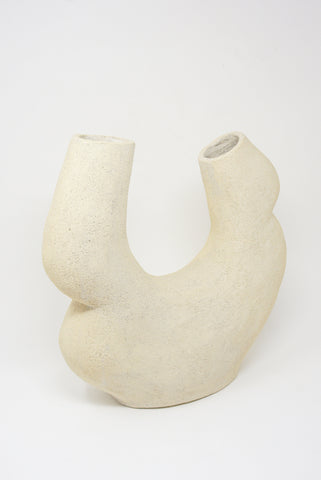Lost Quarry Hand Built Vessel No. 00114 - Double Opening Vessel in Limestone