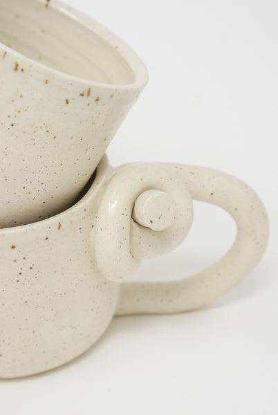 Lost Quarry Knotted Mugs - Single Top Knot with Handle in Snow knot detail