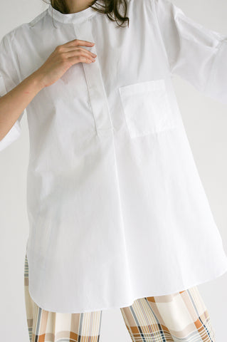 Studio Nicholson Malawi Shirt in Optic White on model view front