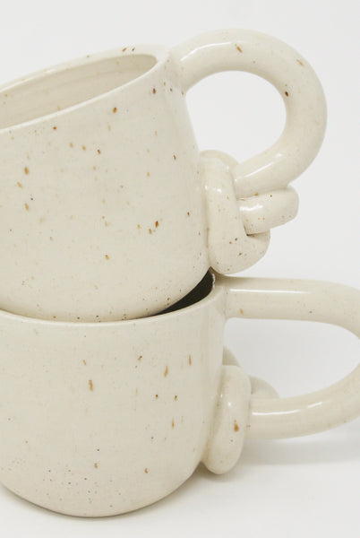 Lost Quarry Mug with Single Bottom Knot Handle in Snow handle detail