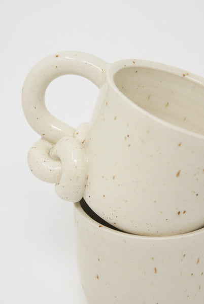Lost Quarry Mug with Single Bottom Knot Handle in Snow knot detail