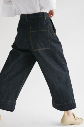 Studio Nicholson Greta Pant in Selvedge Denim Indigo on model view back