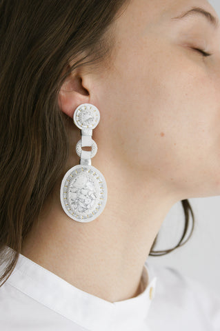 Robin Mollicone Double Stone Earrings - Howlite in White on model view