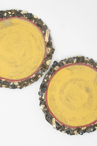 Minh Singer Mars Plates in Yellow & 22k Gold Luster top view
