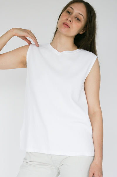 Chimala Muscle Tee in Ivory on model view front