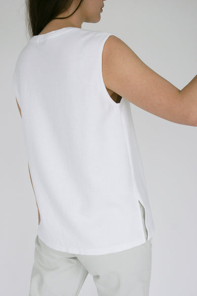 Chimala Muscle Tee in Ivory on model view back