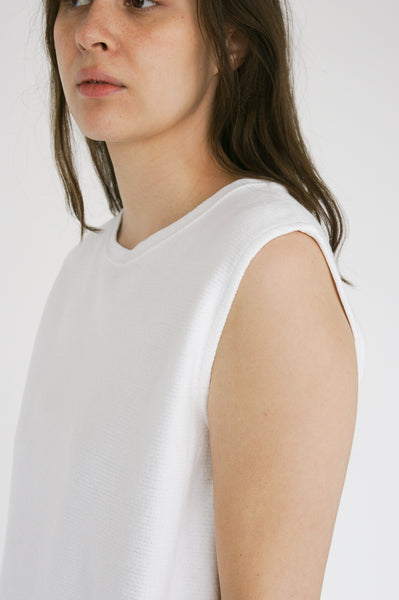 Chimala Muscle Tee in Ivory shoulder detail view