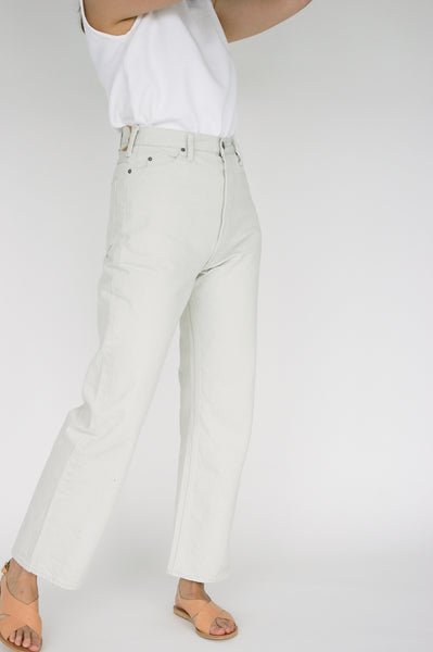 Chimala Selvedge Denim Tapered Cut in Off White on model view side