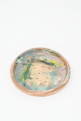 Shino Takeda Strawberry Field Plate in Pink, Green, Yellow