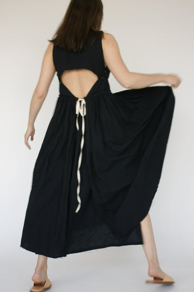 Little Creative Factory Crinkled Dress in Black on model view back