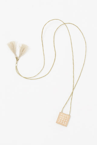 See Real Flowers Leather Talisman in Pearl